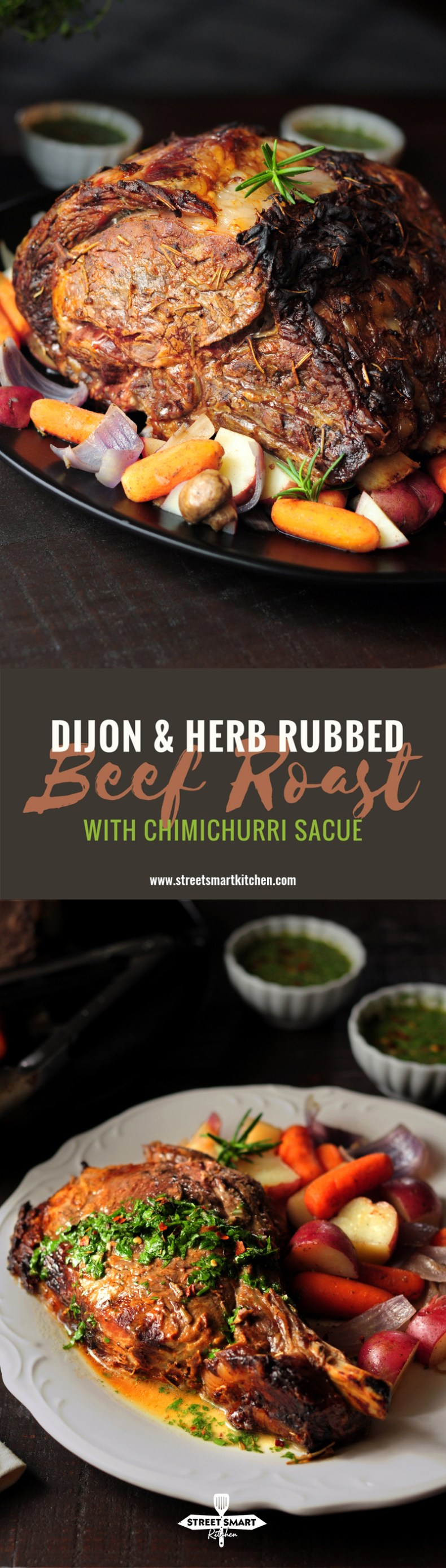 Dijon & Herb Rubbed Rib Roast with Chimichurri Sauce
