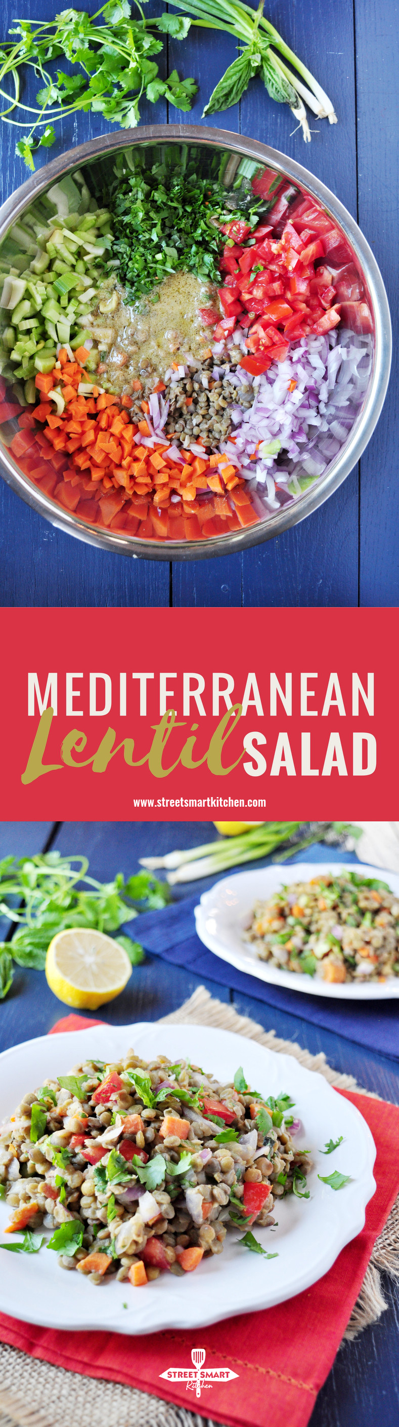 his is a delicious lentil salad that's wonderful when served as a side as well as nutritiously satisfying when served as a main. This recipe makes a huge batch because we'd suggest you consider making it ahead of time as a side dish to pair with your meat or seafood throughout the week.