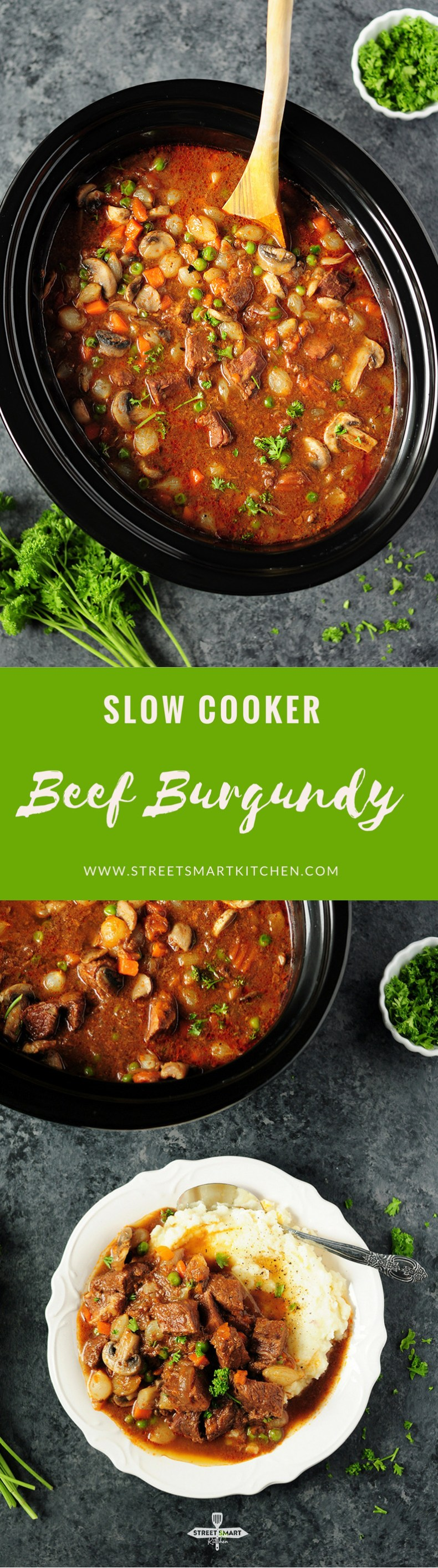 For a weeknight meal, this savory and scrumptious beef burgundy can be easily put together in aslow cooker to simplify the process!