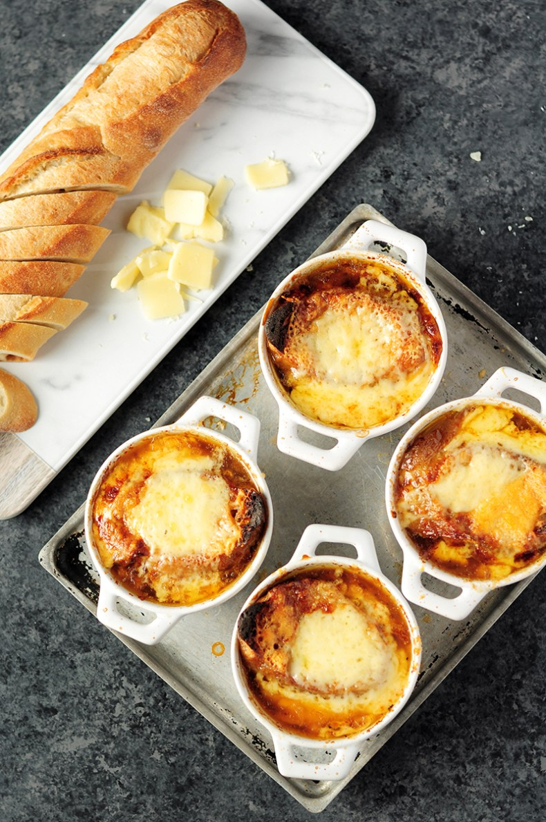 Let this healthy, soothing slow cooker French onion soup cook itself while you're busy with other things. Make it with bone broth for a boost of collagen.