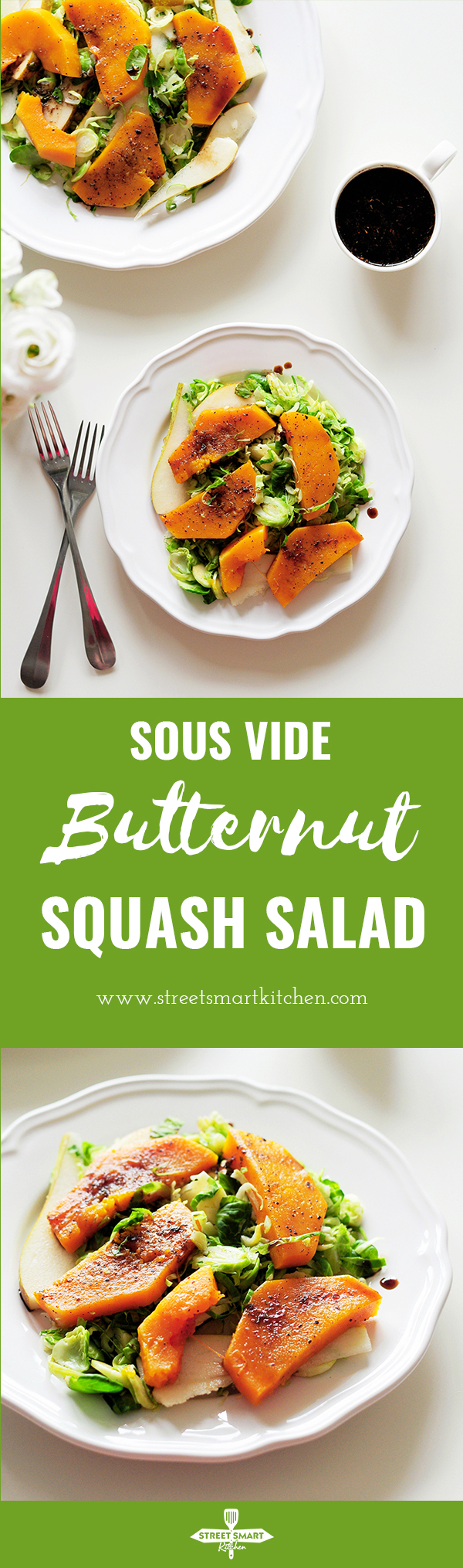 This sous vide butternut squash salad comes with an extra punch of flavor from pears, Brussels sprouts and a homemade balsamic vinegar glaze.