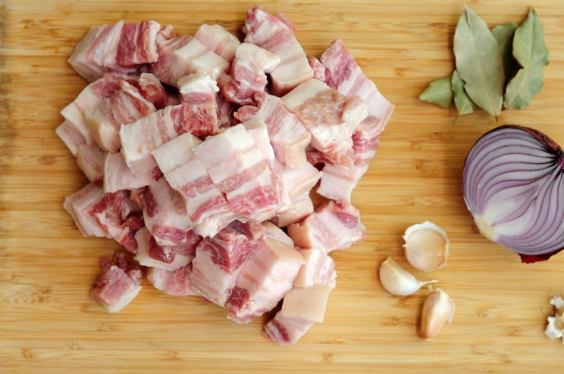 pork belly slab cut into bite-sized pieces
