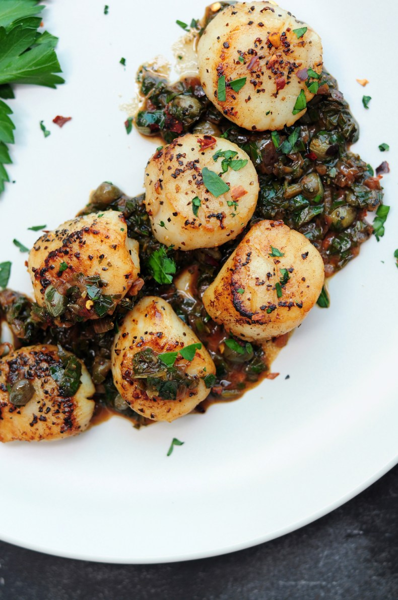 Sous vide scallops with brown butter and caper sauce