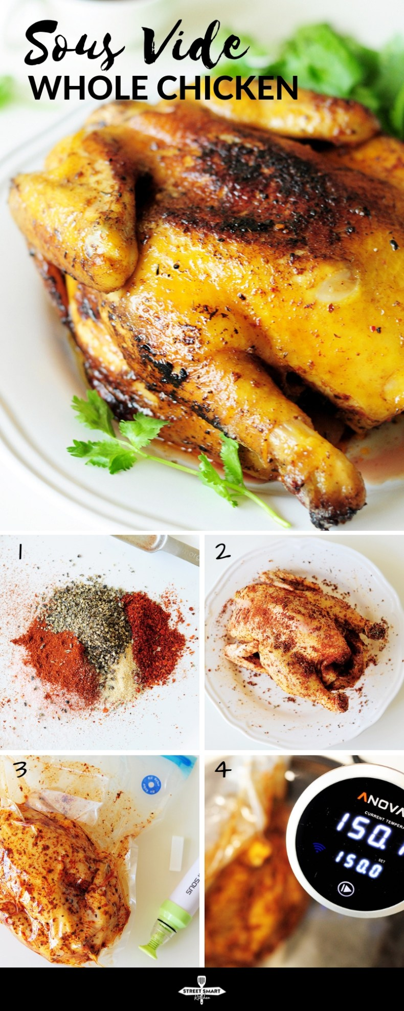 This sous vide whole chicken recipe will be the juiciest, tenderest, and most flavorful chicken you'll ever make. Step-by-step photo guide included.