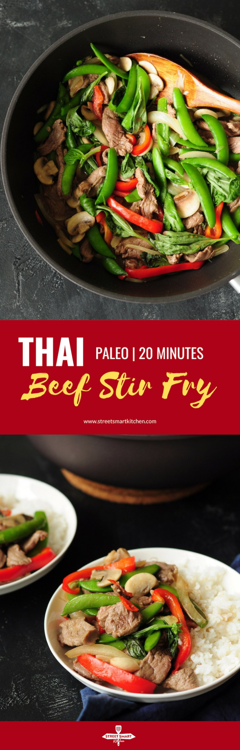 Full of flavor, this super-quick Thai beef stir fry is packed with healthy vegetables. It's a great weekday dinner option. Ready in 20 minutes.