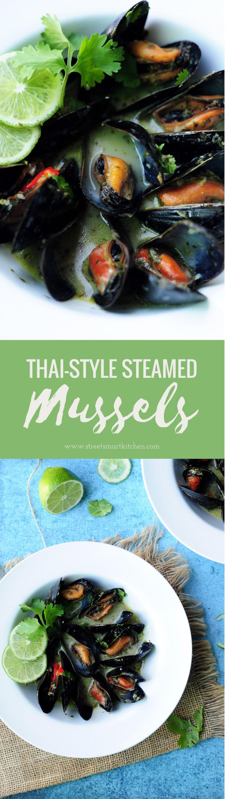 Quick and delicious mussels steamed in white wine along with a spicy and creamy Thai-style cooking sauce.