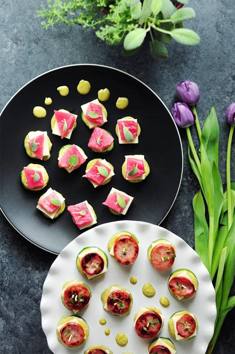 Tuna-Cucumber and Sausage-Zucchini Stackers