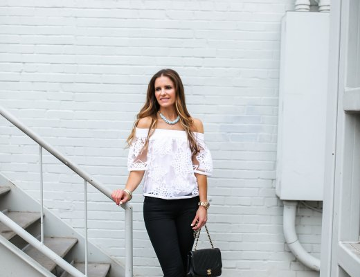 Jonathan Simkhai white overlay OTS top / Dallas Fashion Blogger/ Tiffany Davros/ Gap crop flare jeans/ Isabel Marant tie up heels