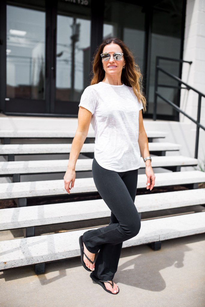 Staying Healthy During These Winter Months/Dallas Style Blogger/Nation Ltd Tee/Free People Strappy Bra/Pamela Love Spike Earring/