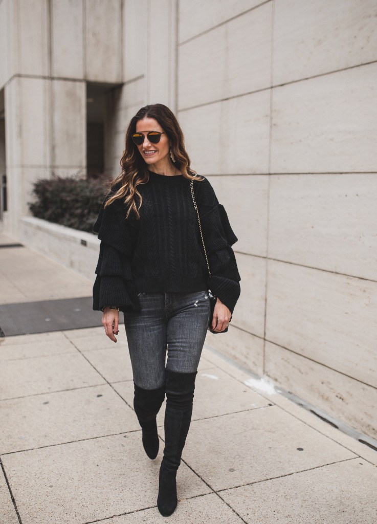 Mother Denim Two Ways With My Blogger Sister/Dallas Fashion Blogger/ Tiffany Davros/Chicwish Black Cable Knit Sweater with Tiered Flare Sleeves/Mother Black Undone Hem Looker Ankle Jean/Stuart Weitzman black Suede Over-The-Knee Boots/Sanlo Shop/Chanel classic flap bag