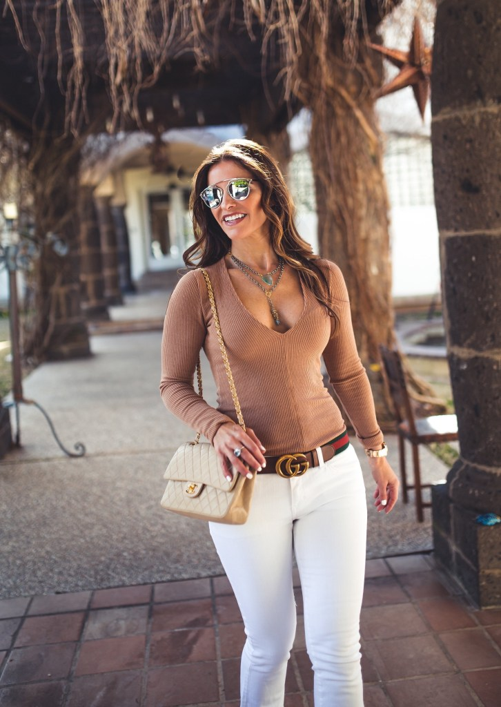 Camel Crush + A Gucci GG Marmont Handbag Giveaway//Dallas Style Blogger// Project Social T// Current/Elliott Flip Flop Jean// Christian Louboutin Pump// Gucci Belt// Dior Sunglasses// Chanel Classic Bag// Harper Hallam Jewels//