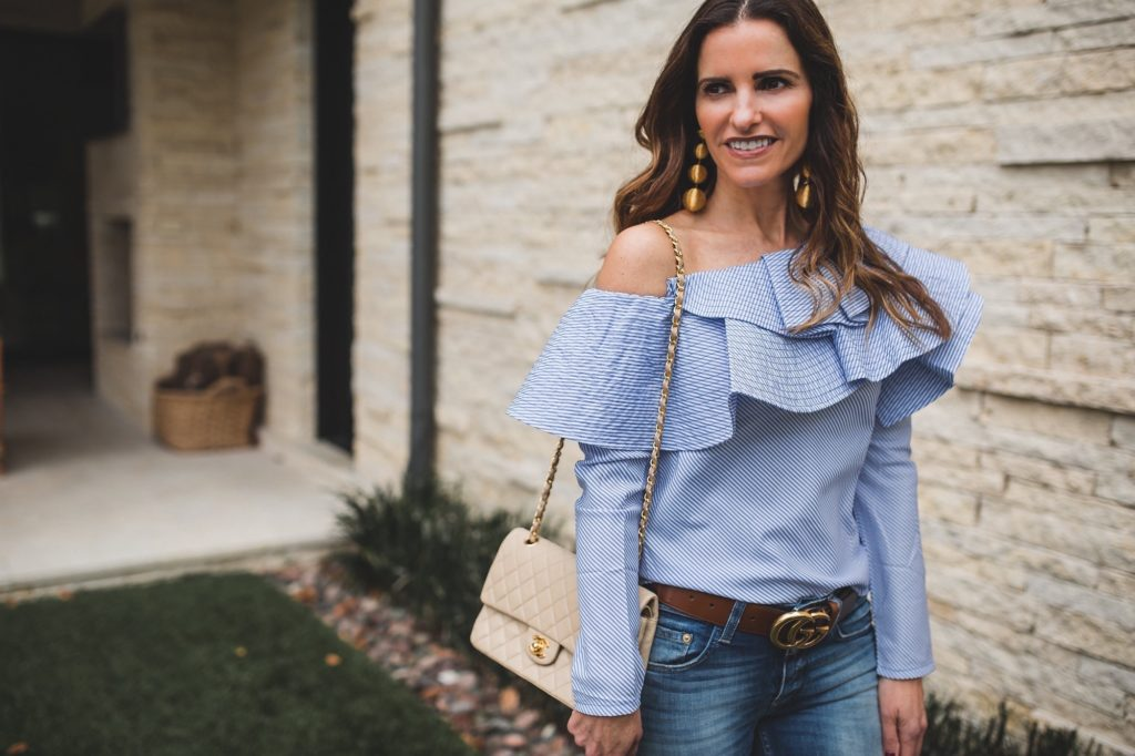 Fab One Shoulder Top Perfect For Spring Break & Beyond//Dallas Fashion Blogger// Tiffany Davros// One by Stylekeepers One Shoulder Blouse//Closed Jeans// Gucci logo belt//Rebecca de Ravenel earrings// Chanel classic flap bag//Sergio Rossi bootie