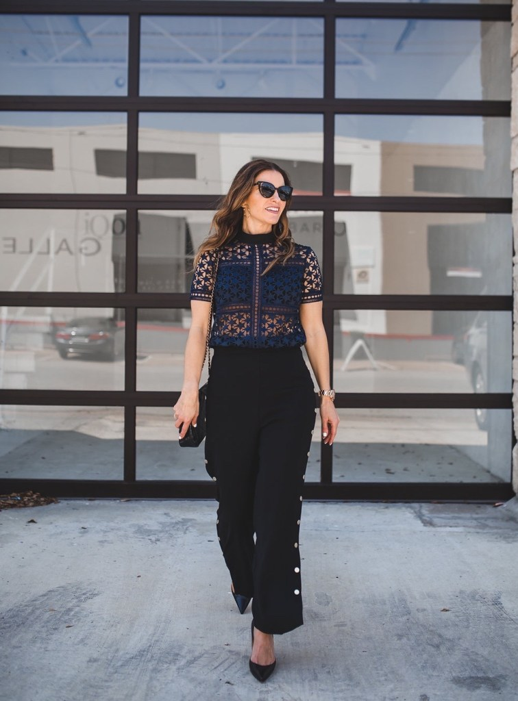 The New 'IT' Black Pants That Everyone Needs//Dallas Fashion Blogger/ / Tiffany Davros// Pixie Market Sydney Black Snap Button Side Pants// Self-Portrait Star Repeat Short-Sleeve Top// Christian Louboutin Pump// Chanel Classic Flap Bag// Fendi Sunglasses// Alexis Bittar Jagged Crystal Hoop Earrings