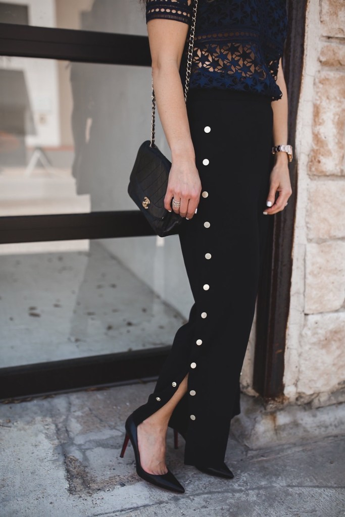 The New 'IT' Black Pants That Everyone Needs// Dallas Style Blogger// Pixie Market Black Side Snap Button Side Pants// Self-Portrait Star Repeat Short-Sleeve Top// Christian Louboutin Black Heels// Chanel Classic Bag// Sunglasses by Fendi// Alexis Bittar Crystal Hoop Earrings