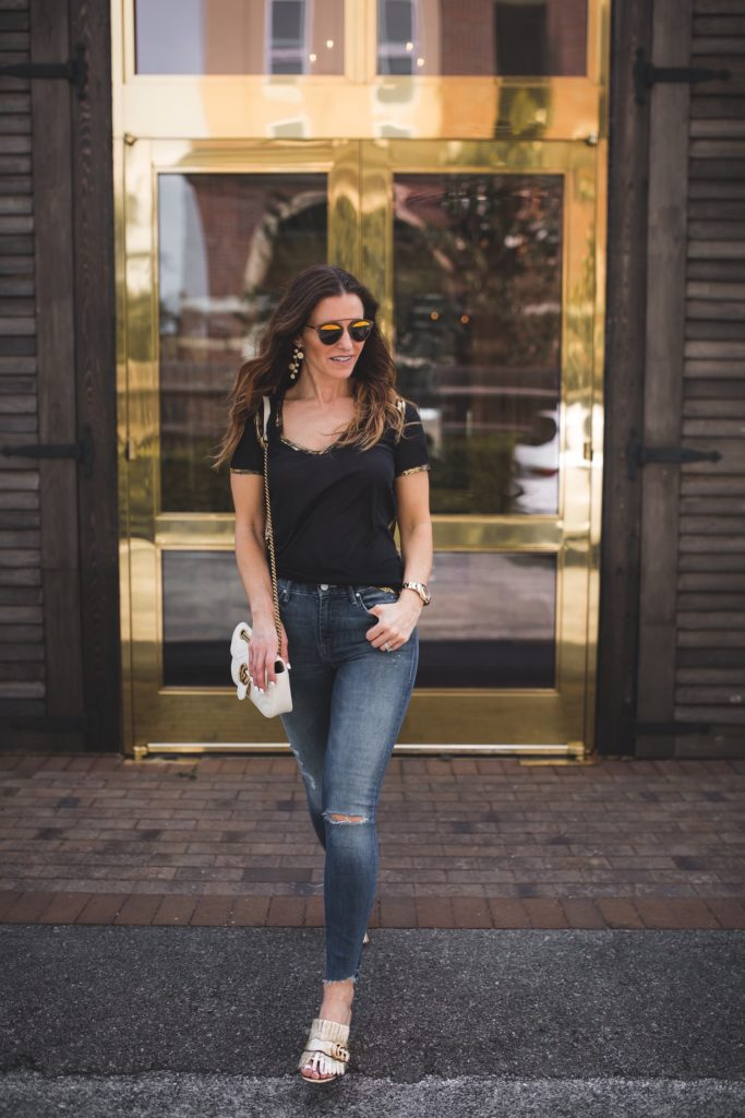Tops All Under $100 To Get You Ready For Summer// Zadig & Voltaire Tino Gold Tee// Mother The Stunner Ankle Fray Jeans// Gucci Marmont Fringed Metallic Mules// Gucci GG Marmont shoulder bag// Annie Costello Brown Gold & Silver Earrings// Dallas Style Blogger//