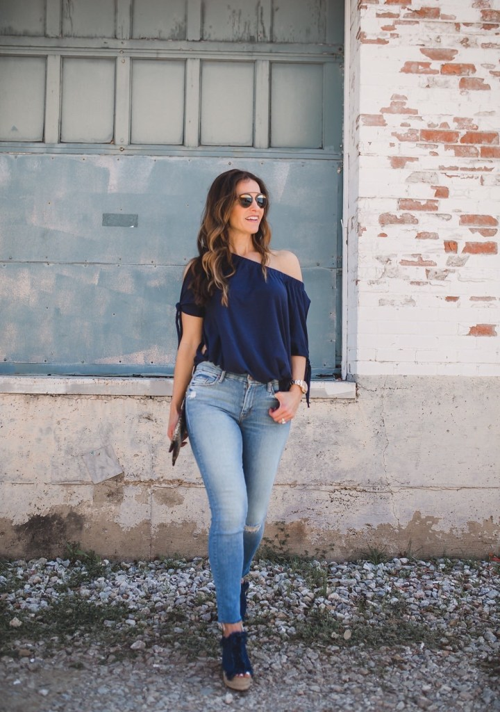 A Versatile Top That Can Be Worn Two Ways// Dallas Fashion Blogger/ / Tiffany Davros// Nation Ava off-the-shoulder tee// Mother the Stunner Frayed Skinny Jeans// Chloe Frayed Denim Espadrille // Archipelago Designs Clutch// Dior 'So Real' Sunglasses