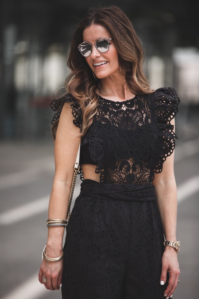 Nightcap Clothing Eyelet Cap Sleeve Jumpsuit// Dior So Real Round Brow Bar Sunglasses// Gorjana Taner Extra Large Hoop Earrings// Harper Hallam Bracelets//