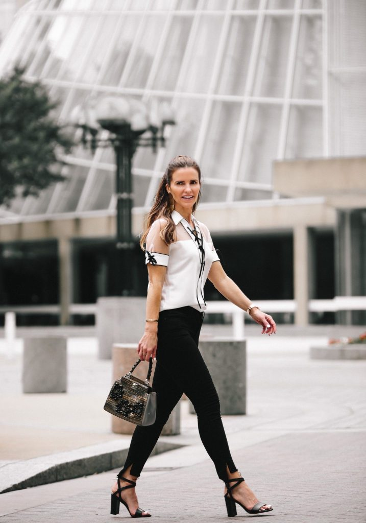 Anne Fontaine: Classics With An Edgy Elegance// Dallas Fashion Blogger/ /Tiffany Davros// Anne Fontaine Calvina Shirt// MARION PARKE Black Lisa Strap Sandal// Frame Le Skinny Stagger Hem Jeans// Thale Blanc Emma Handbag// Annie Costello Brown Popova Earrings in Gold// Coordinates Collection Bracelet