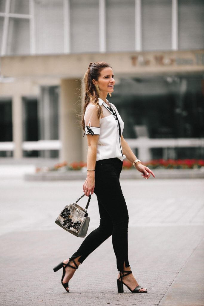 Anne Fontaine: Classics With An Edgy Elegance// Dallas Fashion Blogger/ /Tiffany Davros// Anne Fontaine Calvina Blouse// MARION PARKE Black 'Lisa' Strap Sandal// Frame Le Skinny Stagger Hem Jeans// Thale Blanc Emma Couture Handbag// Annie Costello Brown Popova Earrings in Gold// Coordinates Collection Legend Bracelet