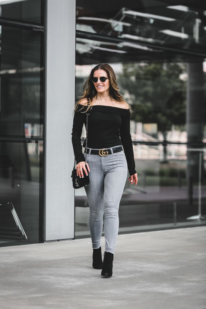 Halogen Off the Shoulder Top | Joe's Step-Up Hem High Rise Skinny Jeans | Illesteva Milan II Mirrored Round Sunglasses | Steve Madden Block Heel Bootie | Rebecca Minkoff Mini Velvet Convertible Crossbody Bag | Gucci Belt With Double G Buckle