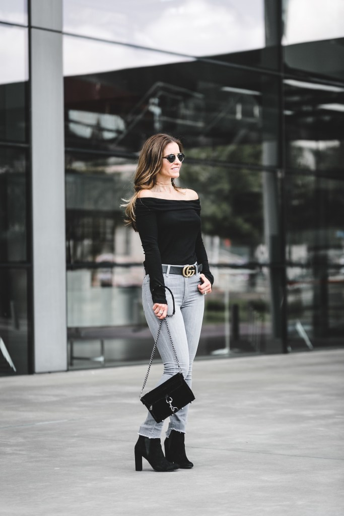 Halogen Rib Knit Off the Shoulder Top | Joe's Cool Off Charlie Step-Up Hem High Rise Skinny Jeans | Illesteva Milan II Mirrored Round Sunglasses | Steve Madden Effect Block Heel Bootie | Rebecca Minkoff Mini MAC Velvet Convertible Crossbody Bag