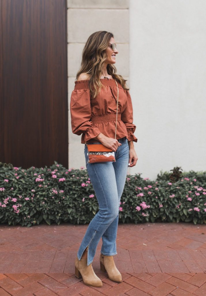 Kristyn Chambers Victory Bag || TULAROSA OFF THE Shoulder BLOUSE || FRAME Le Boy Zip Hem Crop Jeans || Parpala Natural Bone Horn Necklace || Dior So Real Sunglasses || Alberto Fermani CHUNKY HEEL BOOT ||