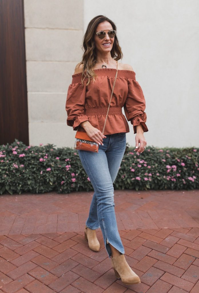 Kristyn Chambers Clear Victory Mini Bag || TULAROSA KATIE BLOUSE || FRAME Le Boy Zip Hem Crop Jeans || Parpala Natural Bone Horn Necklace || Dior So Real Sunglasses || Alberto Fermani CHUNKY HEEL BOOT ||