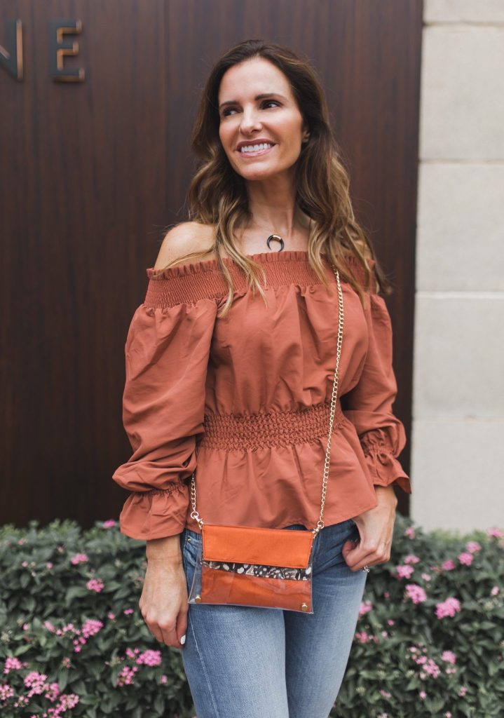Kristyn Chambers Clear Victory Mini Bag || TULAROSA OFF THE SHOUDLER BLOUSE ||