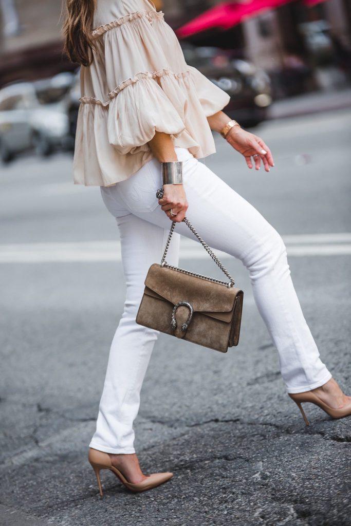 AG The Stilt Jean || Gucci Dionysus Medium Suede Shoulder Bag || Christian Louboutin Iriza Half-d' Orsay Nude Pump ||