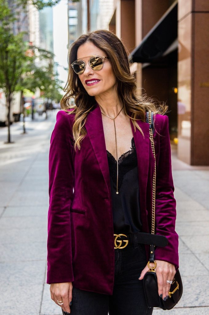 Theory Power Stretch Velvet Blazer || Cami NYC Racer Charmeuse Tank || AG The Farrah High Waist Ankle Skinny Jeans || Gucci Double G Buckle Belt || Parpala Marguax Necklace || Prada Mini Curved Leather Crossbody Bag || Dior So Real Round Brow Bar Sunglasses