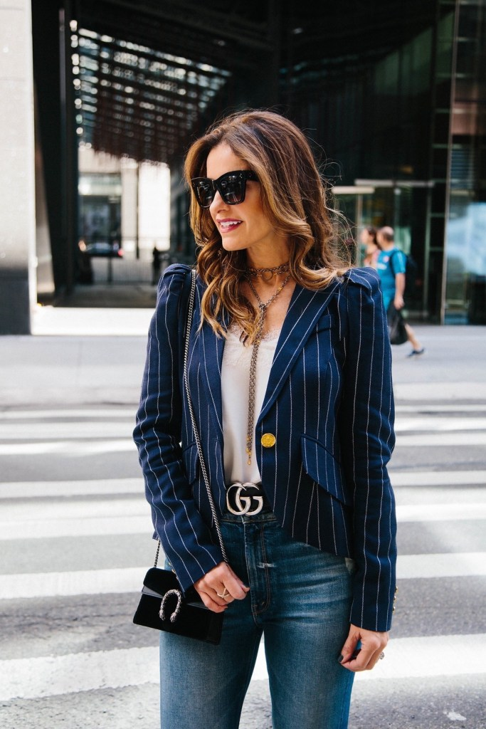 Smythe Pouf Sleeve One Button Pinstriped Blazer// Cami NYC The Racer Charmeuse White Cami// Gucci Dionysus Velvet Super Mini Bag// Celine Catherine Cat-Eye Sunglasses// Harper Hallam Necklace// LAGOS Enso Caviar Crossover Ring//