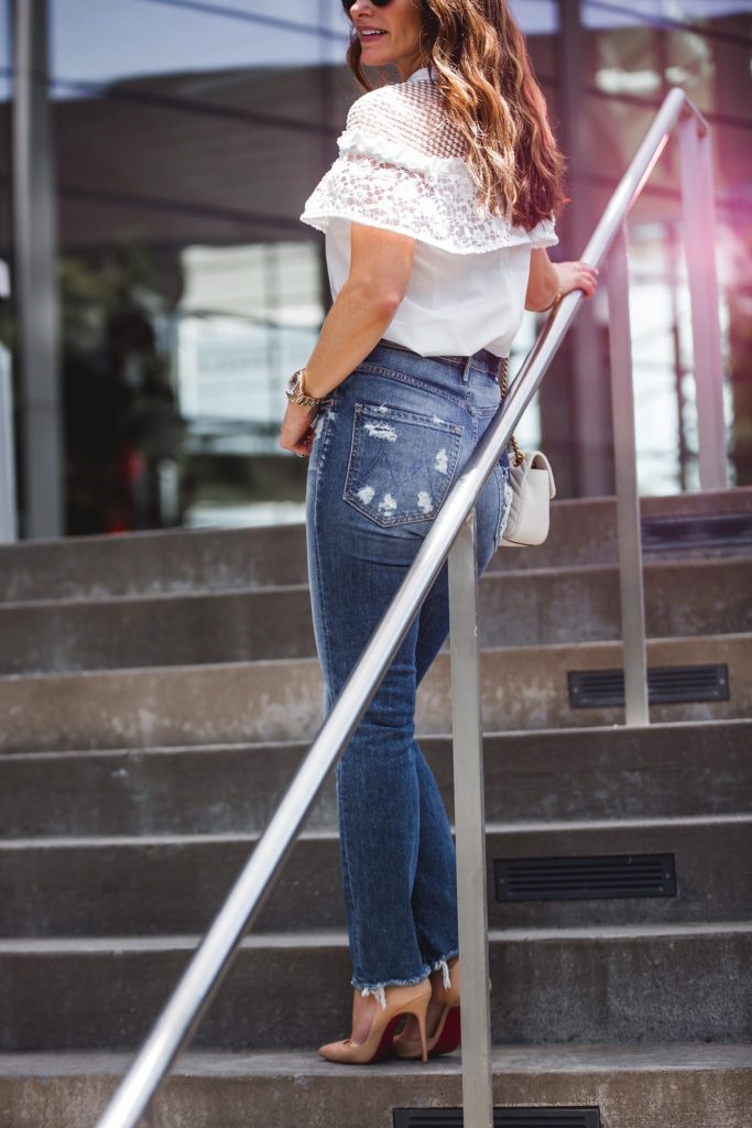 Mother Dazzler Shift Jeans || Self-Portrait Hudson Lace Blouse || Dior Round Brow Bar Sunglasses || Gucci GG Marmont shoulder bag ||
