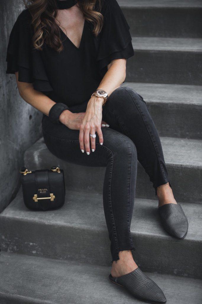 Leith Choker Ruffle Sleeve Top// Prada Mini Curved Crossbody Bag// AG The Farrah Ankle Skinny Jeans// MODERN + SOUL slides