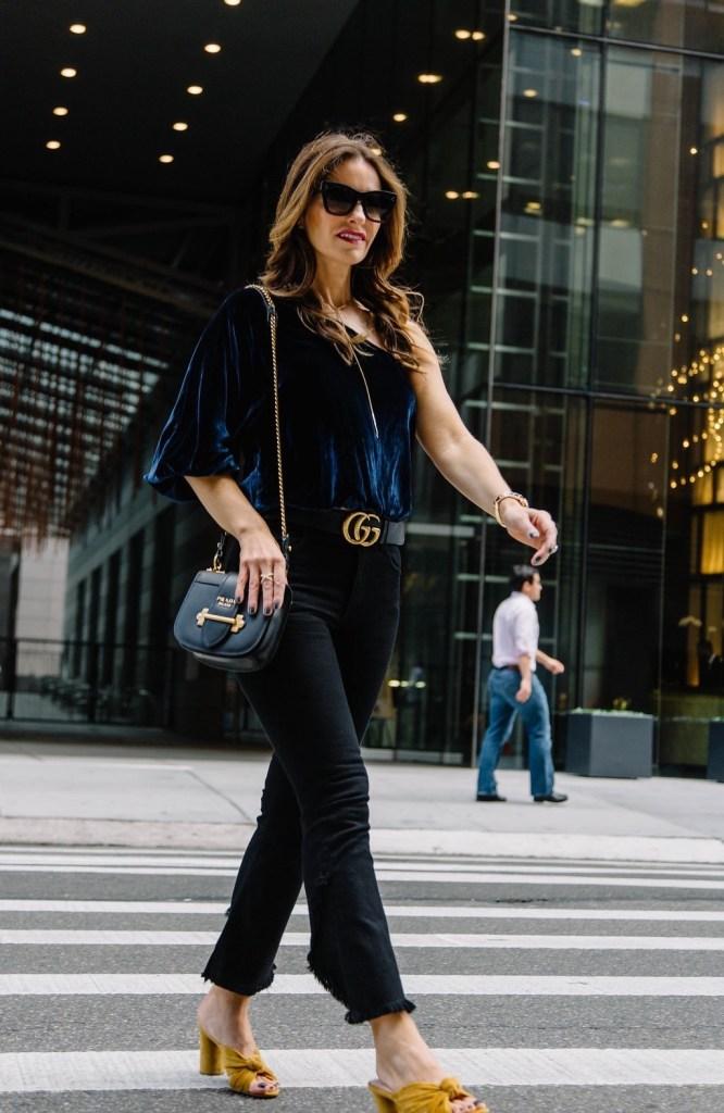 black ruffle jeans