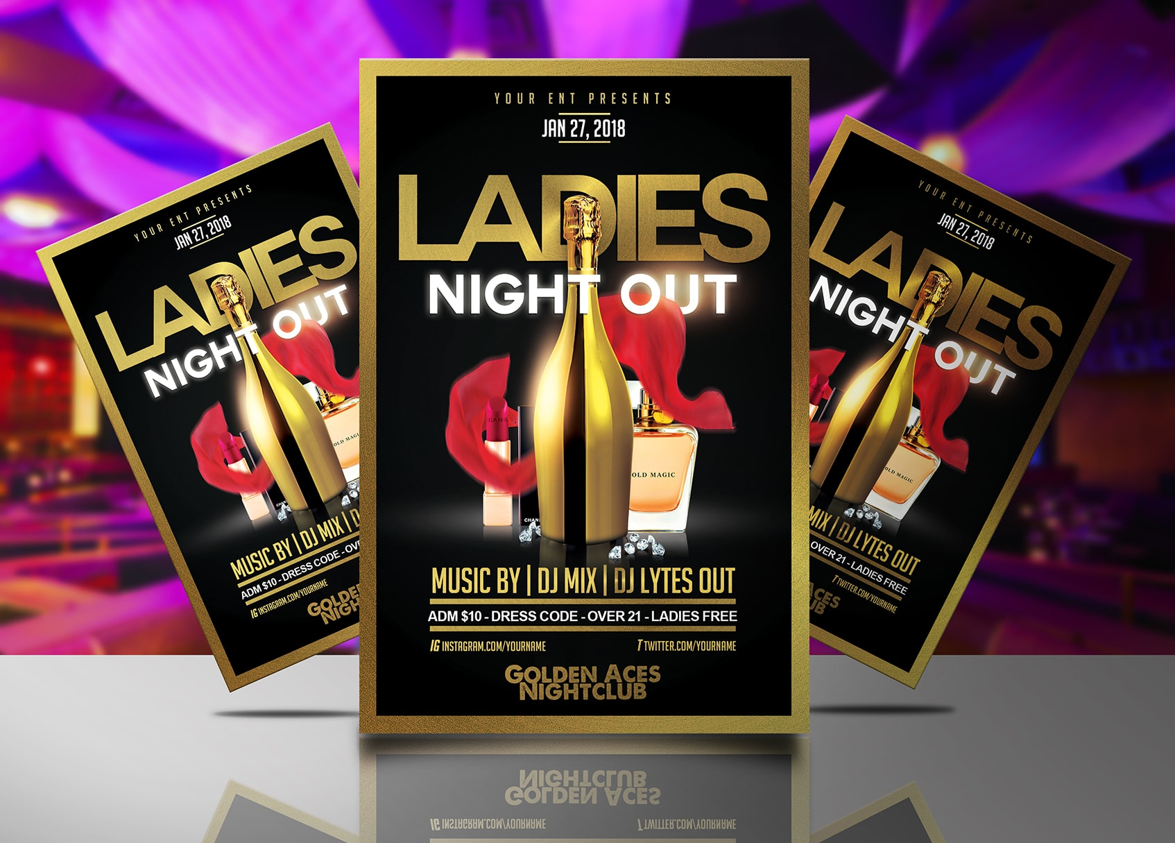 ladies night out gold flyer template streetz myestro beats