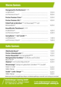 Speisekarte Weinfest Freitag/Samstag