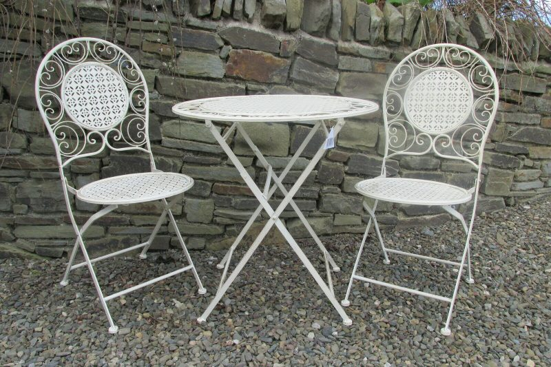 cream with gold aging effect bistro patio set table 2 chairs