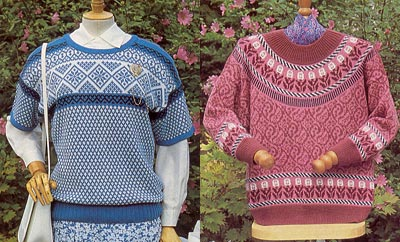 Mehrfarbige Pullover in Norwegertechnik, multicolour garments in Fairisle