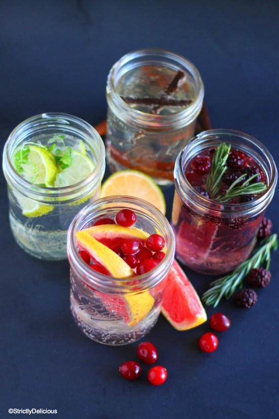 How to Drink More Water: Flavored Sparkling Water Four Ways | StrictlyDelicious.com