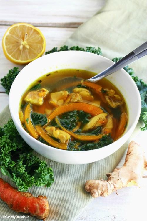 Sick Soup: Chicken, Kale, and Butternut Squash Noodle Soup | StrictlyDelicious.com