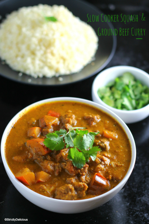 Slow Cooker Squash & Ground Beef Curry | StrictlyDelicious.com