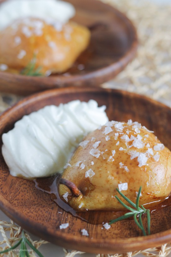 Honey Roasted Pears with Sea Salt and Rosemary Whipped Cream | StrictlyDelicious.com