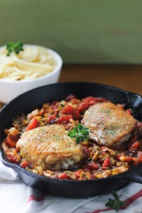 One-Skillet Italian Roasted Chicken and Vegetables