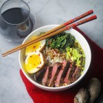 Easy Weeknight Ramen with ginger green tea broth, kale, and beef tenderloin | StrictlyDelicious.com