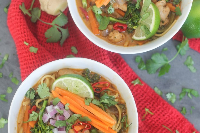Thai Coconut Curry Chicken Noodle Soup | StrictlyDelicious.com