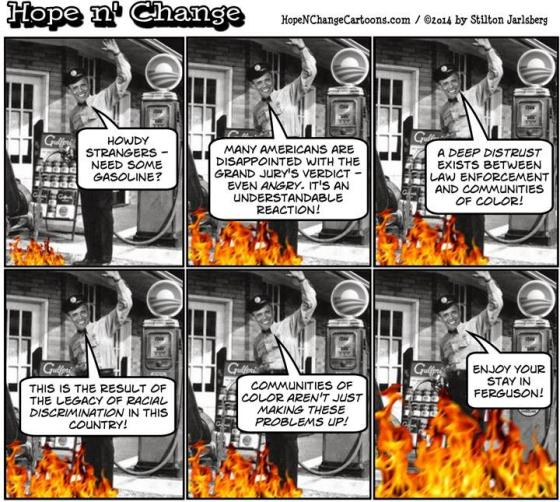(The remarks in panels 2, 3, 4, and 5 come directly from Obama's Ferguson statement)