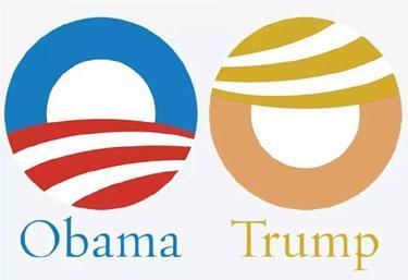 Trump - Obama logos