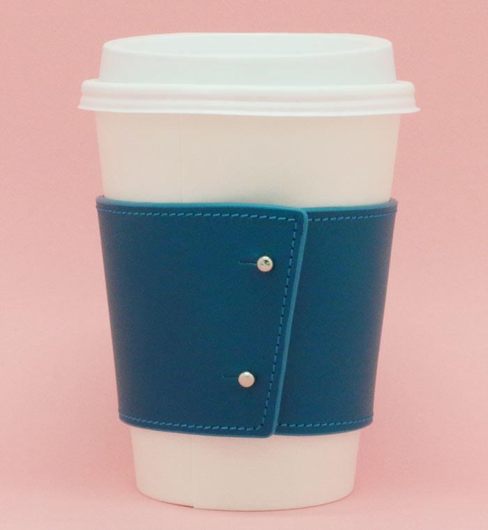 emerald leather coffee cup holder