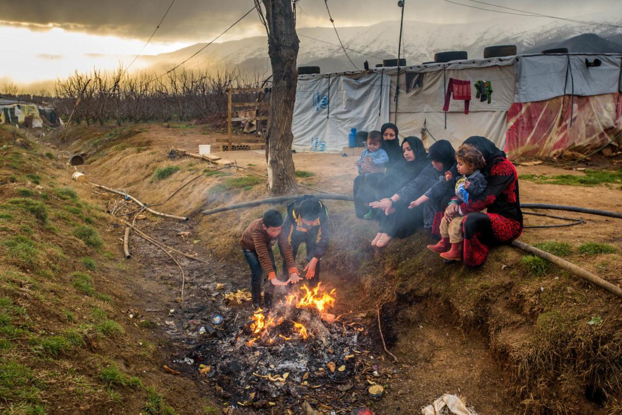 Syrain refugee family in the Bekaa Valley, Lebanon (c) 2016 World Vision: photo by Jon Warren