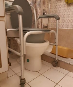 A fitted, raised toilet seat